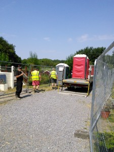 Very important! The arrival of the portaloos for the construction crew